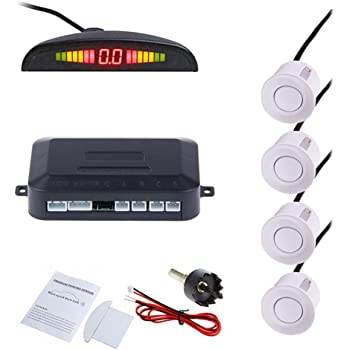 Silver 4 Sensors Backup Radar YUSHho56T Alarm Systems /& Security Buzzer Car Parking Sensor Car Reversing Backup Radar Sound Alert
