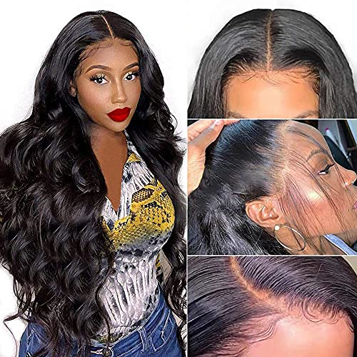 Beaudiva 5×5 HD Lace Front Wigs Human Hair for Black Women Pre Plucked Hairline 150% Denisty 9A Brazilian Body Wave Lace Front Wigs with Baby Hair Natural Color(26inch)