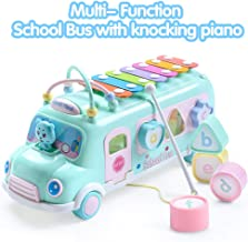EFOSHM Intellectual School Bus, Piano Bus Toys with Puzzle Beat Shape Knocking on Piano Baby Music Educational Toys Gifts blue KC-BUS