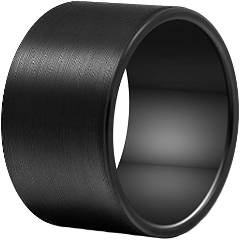 Free shipping on posting reviews Men 14mm Big Tungsten Metal Ring Wedding gift Band F Black Engagement