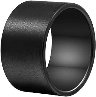 Men 14mm Big Tungsten Metal Ring Black Wedding Engagement Band Flat Top Pipe Cut Matte Finish Comfort Fit