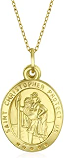 Personalized 14K Yellow Real Gold Saint Christopher Religious Metal Pendant 18 In Chain Necklace Women Custom Engraved