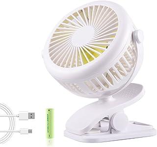 Mini Ventilador USB con Clip, BACKTURE Ventilador de Mesa Portátil, Ventilador de Escritorio Silencioso para Hogar, Oficina, Dormitorio, Cochecito de Bebé, Viajar, Acampar, Coche (Blanco)