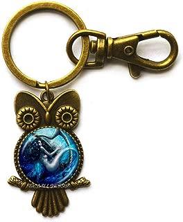Mermaids Owl Keychain,Charming Mermaid Jewelry,Mermaid Key Ring,sea Fairies Owl Keychain,Aqua Marine sea Life Jewelry,Beach Jewelry.Y072