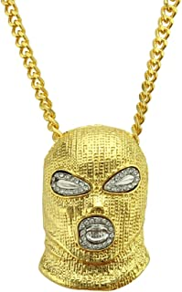 AOVR Men's 18k Gold Plated CZ Fully Iced Out CS Mask Egyptian Life Key Cuban Chain Pendant