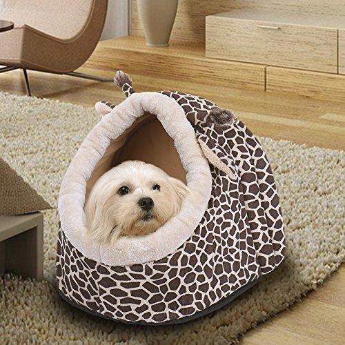 Mascotas Perro Gato Impermeable Cama leopardo jirafa cálido casa
