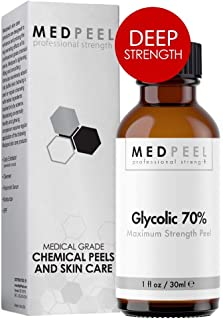 Glycolic Acid Peel 70% Deep+ Peel Unit - Professional Strength Medical Grade Chemical Face Peel for all Skin Tones 1oz / 3...
