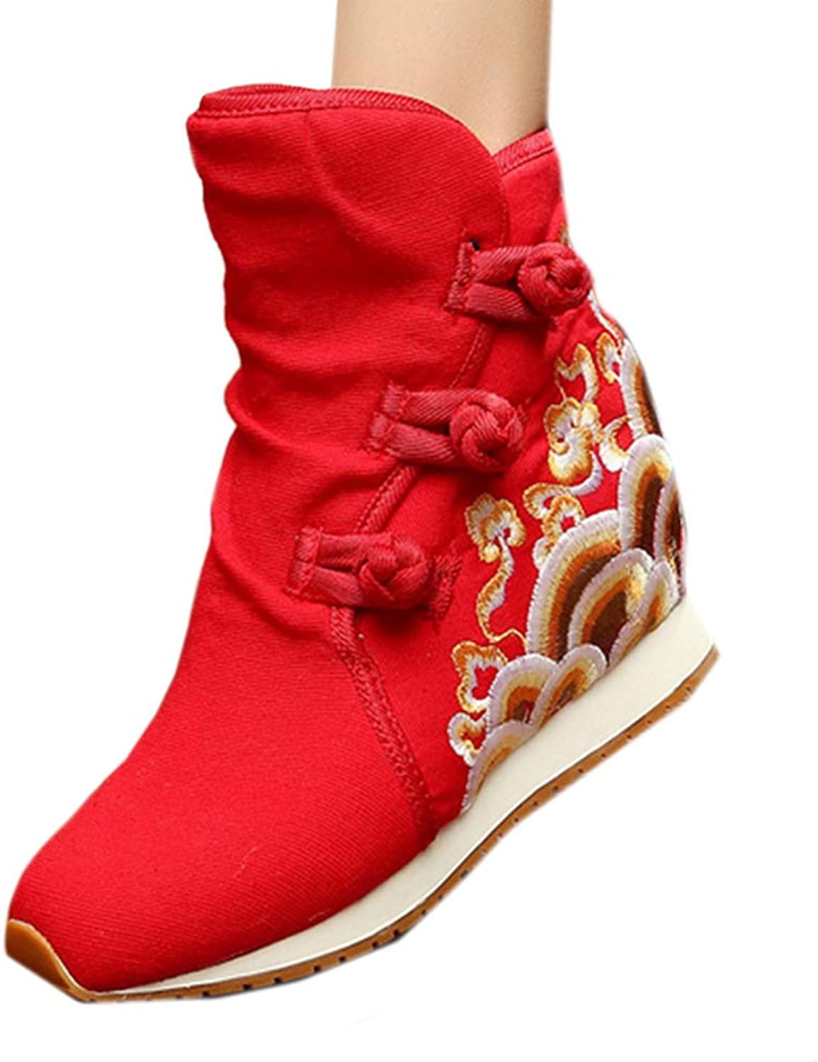 Longxing Wave Vintage Beijing Cloth shoes Embroidered Boots