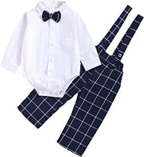 ROMPERINBOX Baby Boys Gentleman Outfit Set, Infant Plain Shirt+Bowtie +Suspenders Pants for Toddler Casual Formal Wedding Birthday Party