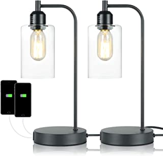 FinExpect Touch Control Table Lamp Modern Bedside Nightstand Lamp with Dual USB Charging Ports 3 Way Dimmable Glass Shade ...