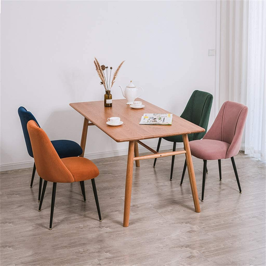 Chaises de Salle à Manger Velvet Backchairs Assise rembourrée avec Pieds en métal pour Salon de Bureau à Domicile (Bleu foncé) Gold Leg