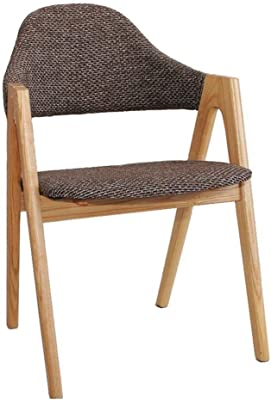Kitchen Dining Chairs Solid Wood Dining Chair Hippo Thick Back Support and Armrest Furniture Table Chair Casual Reception Chair - Gray Burlap Cushion Dining Room Furniture