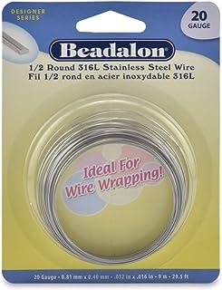 Beadalon 180S-120 Half Round Wire 316L Stainless Steel 20 Gauge, 9-Meter