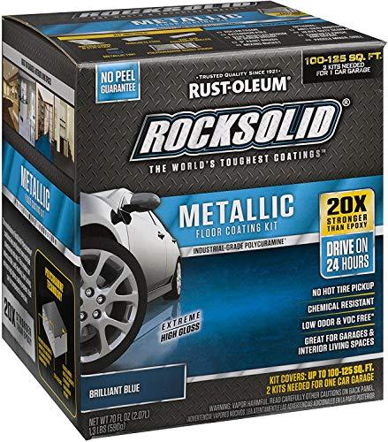 Rust-Oleum 299745 Rocksolid Metallic Garage Floor Coating, Brilliant Blue
