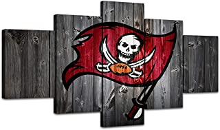 MIAUEN Wall Art Tampa Bay Buccaneers Pictures Canvas Prints Football Frame Posters 5 Piece Paintings Wall Decor Framed Artwork Ready to Hang(60''Wx32''H)