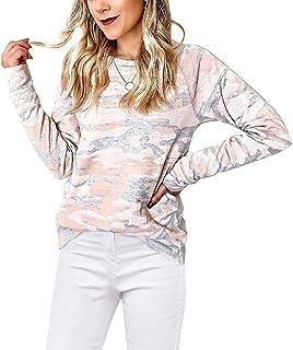 Loyomobak Women Camouflage Long Sleeve Crewneck Tops Tee T-shirt Blouse