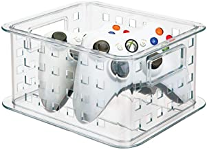 mDesign Plastic Stackable Household Storage Organizer Container Bin with Handles - for Media Consoles Closets Cabinets - H...