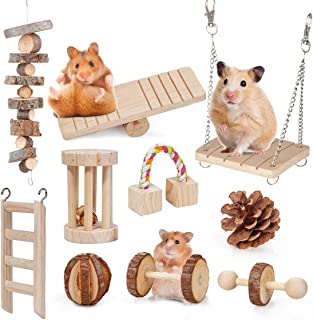 DELFINO Hamster Toys, 10 Pcs Natural Wooden Pine Hamster Chew Toys Rats Chinchillas Toys Accessories Dumbells Exercise Bel...