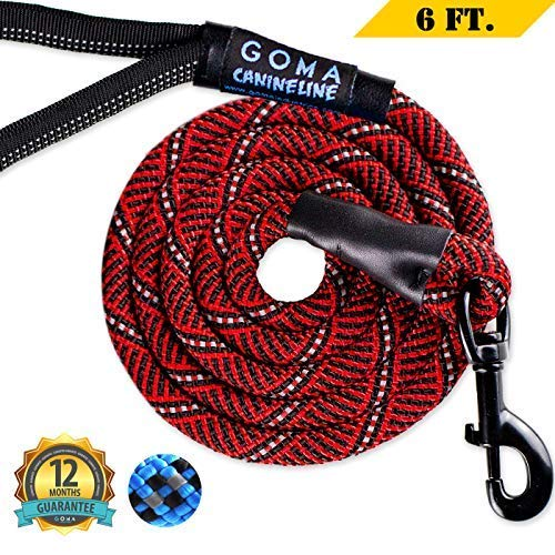 Dog Leash by GOMA - Best Chew resistant Reflective Lead - 100% Heavy Duty Nylon Increased Safety for Night Walking - for Walking Medium and Large Sized Breeds - Ergonomic Grip Made with Mountain Climbing Rope