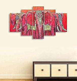 Go Hooked Digital Printed Multiple Frames Designer Elephant MDF Wall Painting Wall Decor for Living Room, Bedroom, Hotels,...