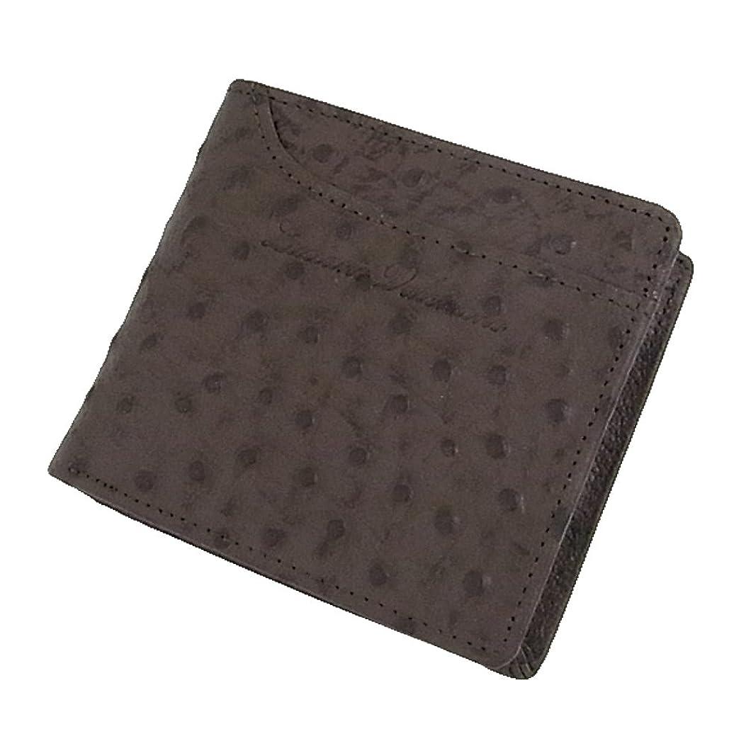 レオナルドダ三角形口実[LUCIANO VALENTINO(L-バレンチノ)]紳士用 短財布(2つ折財布)オーストリッチ型押し 牛革 luv-5004 茶(ブラウン)【箱無し】