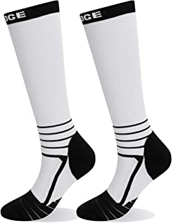 YUEDGE 2 Pairs Compression Socks for Women & Men 15-22 mmHg Knee Hight Socks for Athletic Sports,Running,Varicose Veins