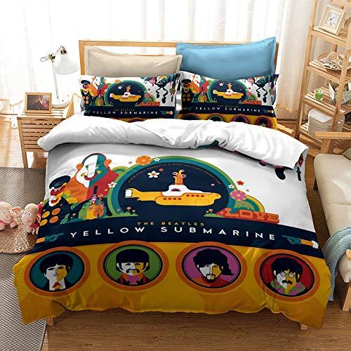 Probuk The Beatles Rockband - Juego de ropa de cama 100% microfibra, ropa de cama con funda de almohada (A-03,200 x 200 cm (50 x 75 cm)