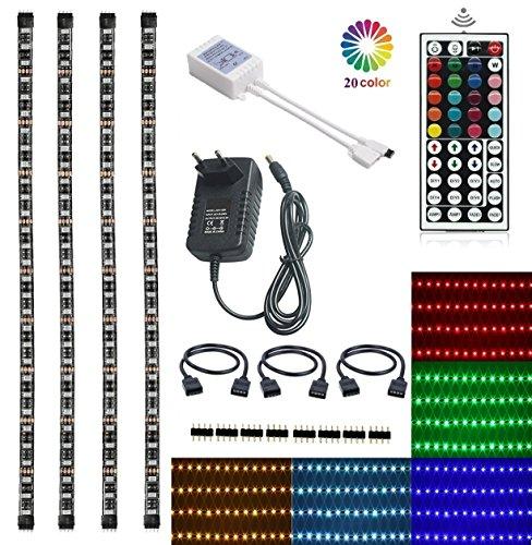 Topled Light TV LED Posteriore di illuminazione Kit, 4x1,64ft Bias Lighting Cambiamento di Colore RGB con 44Tasti Remote + Adattatore di Alimentazione Kit di Retroilluminazione Strisce LED per HDTV Flat Screen LCD, PC Desktop(Kit Retroilluminazione)