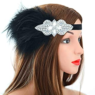 Asooll Vintage Black 1920s Flapper Headband Roaring 20s Gatsby Headpiece Feather Headband with Crystal Prom Festival Flapper Hair Accessories for Women and Girls
