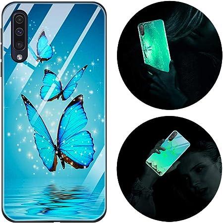 Funda Samsung Galaxy A70, Luminosa Funda para Samsung Galaxy A70, Carcasa con Dibujos Diseño Silicona TPU y PC Trasera Cristal Proteccion Antigolpes Noctilucent Case Fluorescente Caja Mariposa Azul
