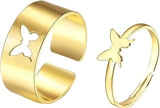 CSIYANJRY99 2 Pcs Butterfly Couples Rings Set for Women Teen Girls Cute Butterfly Matching Rings for Best Friends BFF Boyf...