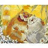 Kit de pintura al óleo de bricolaje por números para adultos, imágenes de gatos lindos coloridos por números, animales, pintura acrílica para pared, A2 50x65cm
