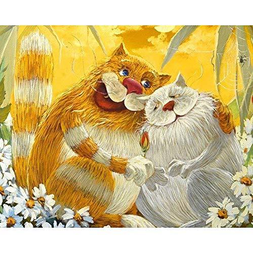 Kit de pintura al óleo de bricolaje por números para adultos, imágenes de gatos lindos coloridos por números, animales, pintura acrílica para pared, A2 60x75cm