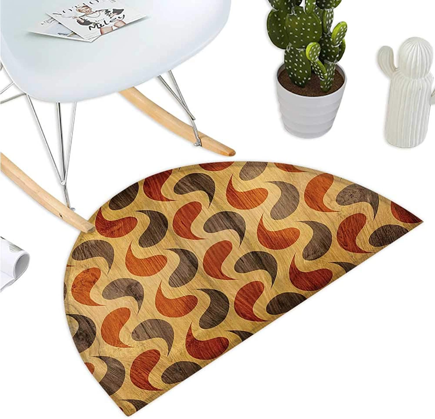 Rustic Semicircular Cushion Abstract Style Tadpole Patterns Tiling of Wavy Shapes Ornamental Artwork Print Entry Door Mat H 35.4  xD 53.1  Brown Black