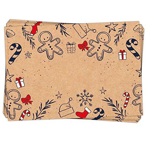 50 Stück Geschenkaufkleber Weihnachten Namensaufkleber Aufkleber Geschenke weihnachtlich ROT natur SCHWARZ 7 x 5 cm Kraftpapier Sticker Namens-Etiketten