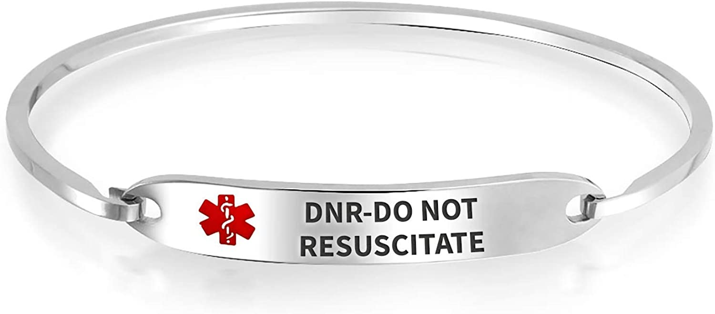 Customizable Engravable Identification Medical Alert ID Sleek Bangle Bracelet for Women Stainless Steel 7 Inch