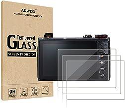 (بسته 3 عددی) محافظ صفحه نمایش LCD Canon Eos M50 M6 M100 سازگار ، فیلم شیشه ای دوربین 0.33 میلی متر سختی AKWOX 9H برای فیلم Canon EOS M100، EOS M6، M50، PowerShot G9 X Mark II، G7 X Mark II، G5 X، G9