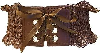 Women Waist Belts Fashion Cinch Belt Buckle Elastic Waistband Female Wide Stretch Corset with Lace