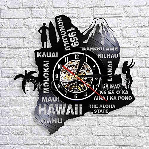 fdgdfgd Negro Retro CD Reloj Estado Hawaii Art Deco Reloj de