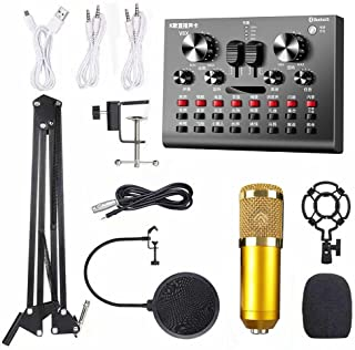 Multifunctional Live V8X Sound Card and BM800 Suspension Microphone Kit Broadcasting Recording Condenser Microphone Set In...