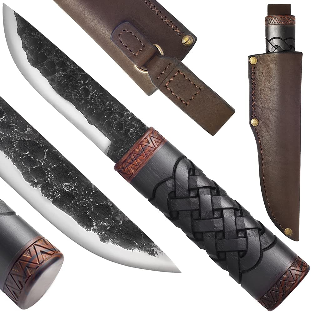 Hunting Knife Hand Forged - Sharp D2 Steel - Fixed Knofe with Wood Handle - Handmade Knives with Leather Sheath - Backpacking Gear - Tactical Survival Camping Utility - Unique Gifts for Men HM012