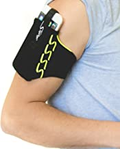 Sprigs Armband for iPhone 11/x/xr/8/7 Plus, Galaxy S10/S9, Google Pixel 4. Lightweight & Comfortable Running Armband, Stretches to Fit All Phones with Case - Black/HiViz, Medium