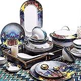 L&B-MR Vajilla Conjunto de vajillas de 46 Piezas, vajilla bellamente Porcelana para 10 Personas, diseño de Arte de Tinta Abstracta Americana, Gran Boda/de Casas de casa