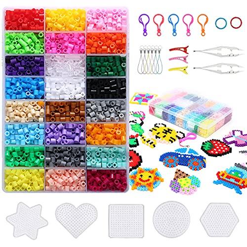 4300 STK Bügelperlen Set, 5 mm Steckperlen 24 Farben Fuse Perlen mit Bügelperlen Platten Zubehör in Organizerbox, DIY Bastelperlen Kit für Kinder Geburtstag Geschenk
