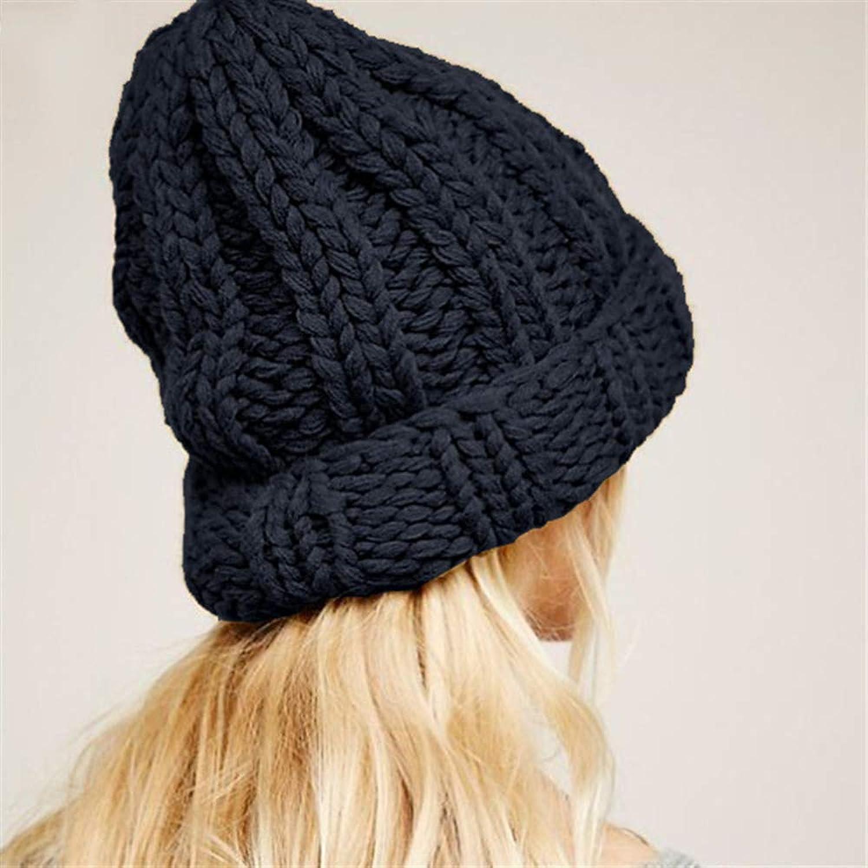 Causal Winter Knitted Hats Women Keep Warm Manual Wool Knitted Earmuffs Soft Hats Girls Caps Female,B