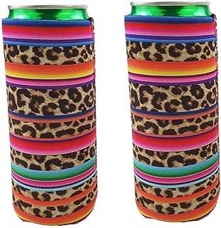 2pcs Neoprene Slim Beer Can Cooler Tall Stubby Holder Foldable Stubby Holders Beer Cooler Bags Fits 12oz Slim Energy Drink & Beer (Rainbow-Leopard)