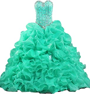 ANTS Women's Formal Crystal Ruffle Quinceanera Party Dress Long