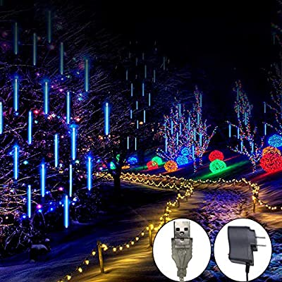 Meteor Shower Rain Lights, 8 Tube 144 LED Waterproof Icicle Snow Fall String Cascading Lights, Rain Drop Lights for Holiday Birthday Party Garden Home Patio Indoor Outdoor Decoration (Blue)