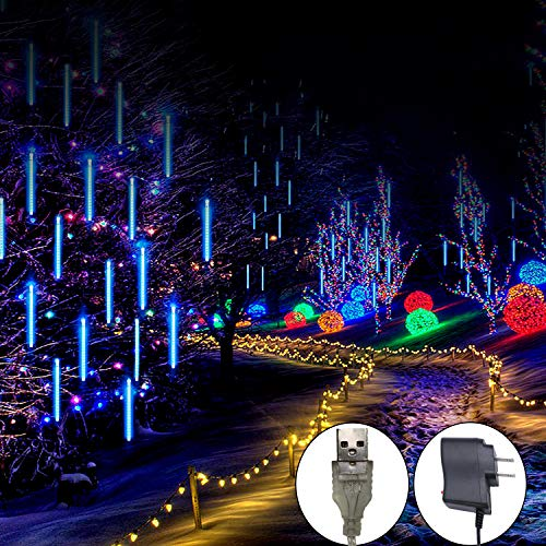Outdoor Meteor Shower Rain Lights, Indoor 8 Tube 144 LEDs Outdoor Christmas String Light, Solar Powered Waterproof Snow Falling Raindrop Icicle Cascading Decoration Lights for Party Garden Home (Blue)