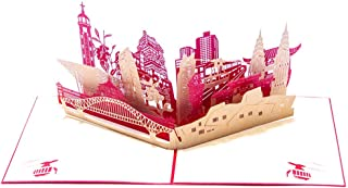 3D Greeting Card Pop-Up Card Chinese City Architecture Greeting Card Paper Ornament Decoration Thanksgiving Christmas Gift (5Pcs) 173183Mm